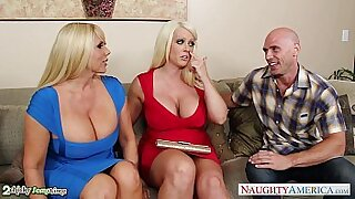 Busty threesome with two gents