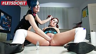 Four lesbians are fucked after school hands BDSM