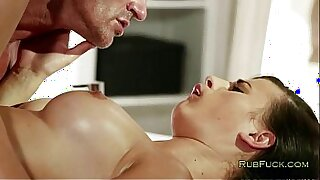 Brunette stepgf milks massage
