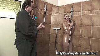 Horny Blonde StepDaughter Fucks Wet Dad And Lover. Ha