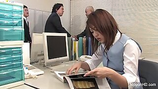 Office japanese babes take a ride on dick