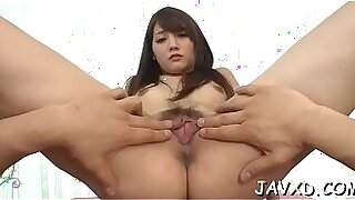 Hot beautiful asian pussyfucked on the double enormous couch