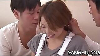Beautiful japanese loves talking in group sex