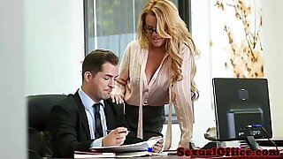 Office babe flashes her super big boobs for the boss!